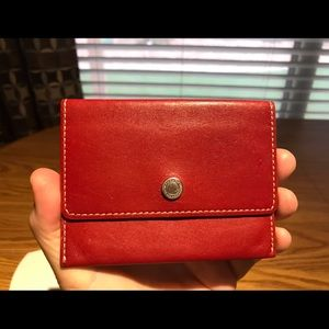 Coach Red Smooth Leather Card Holder